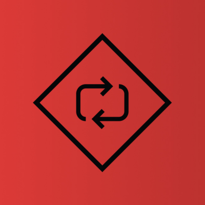 equipment rentals icon circular arrows in a triangle
