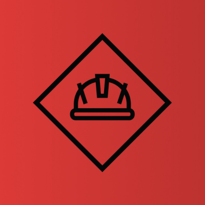 hard hat icon in triangle