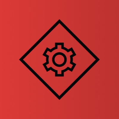 turnaround solutions icon black gear within a triangle