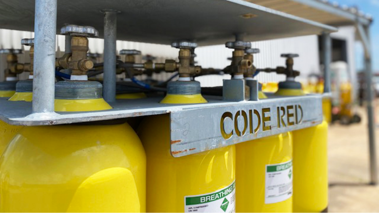 Code Red branded oxygen tanks